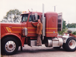 And, this is the last one that he bought.  A 1979 Peterbilt.  I made a many a trips on this one.  And, no he didn't dress like that when he drove.