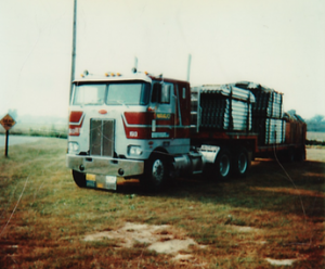 This one is a late 70s Peterbilt Cabover.  The best I remember, he didn't keep this hardly a year, because he didn't like cabovers.  So, I am not sure why he even bought it.